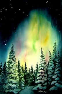 "LouAnn Hoppe's painting ""Northern Lights"" was made into a Courage Card. She says her vivid childhood memories of lying on the ice and looking up at the Nothern Lights inspired her work."