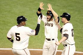 The San Francisco Giants celebrate after their 11-7 victory against the Texas Rangers in Game One of the 2010 MLB World Series. Click Here for more photos of game one at AT&T Park on October 27th, 2010 in San Francisco, California...
