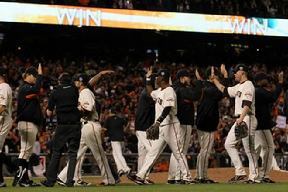 The San Francisco Giants celebrate after their 9-0 victory against the Texas Rangers in Game Two of the 2010 MLB World Series. Click Here for more photos from game two at AT&T Park on October 28, 2010...