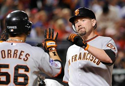 Aubrey Huff struck for a two-run homer in the third inning to put the Giants on the scoreboard...