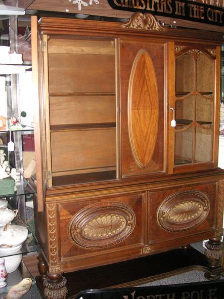 A Circa 1920u0027s Walnut China Cabinet From H.E. Shaw Furniture Co.  Manufacturers From Grand Rapids