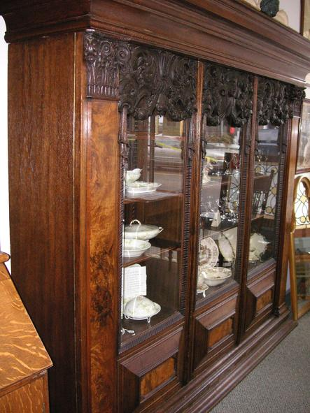 THIS NICE WALNUT GERMAN BOOKCASE COMES APART FOR SHIPPING. ADJUSTABLE  SHELVES. - West Saint Paul Antiques