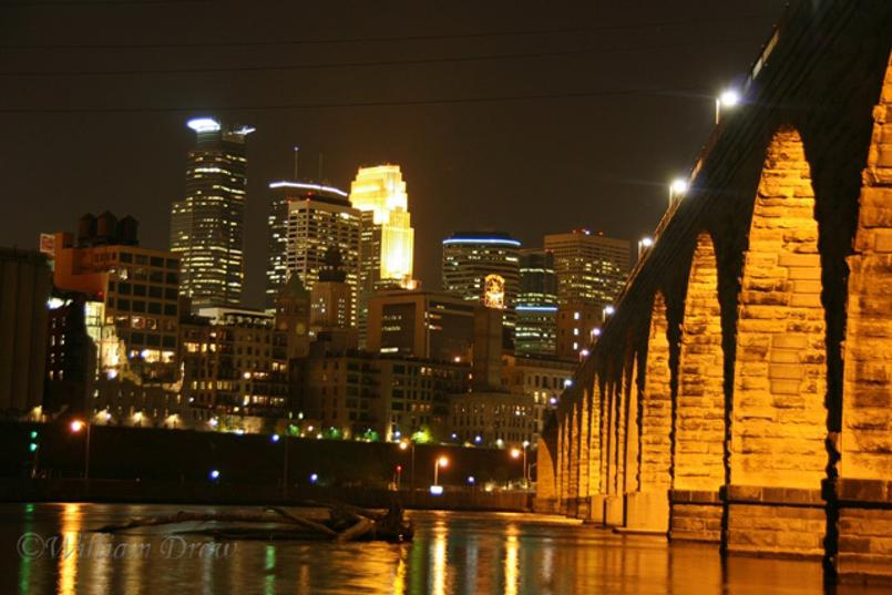 Downtown Minneapolis at the Stone Arch Bridge