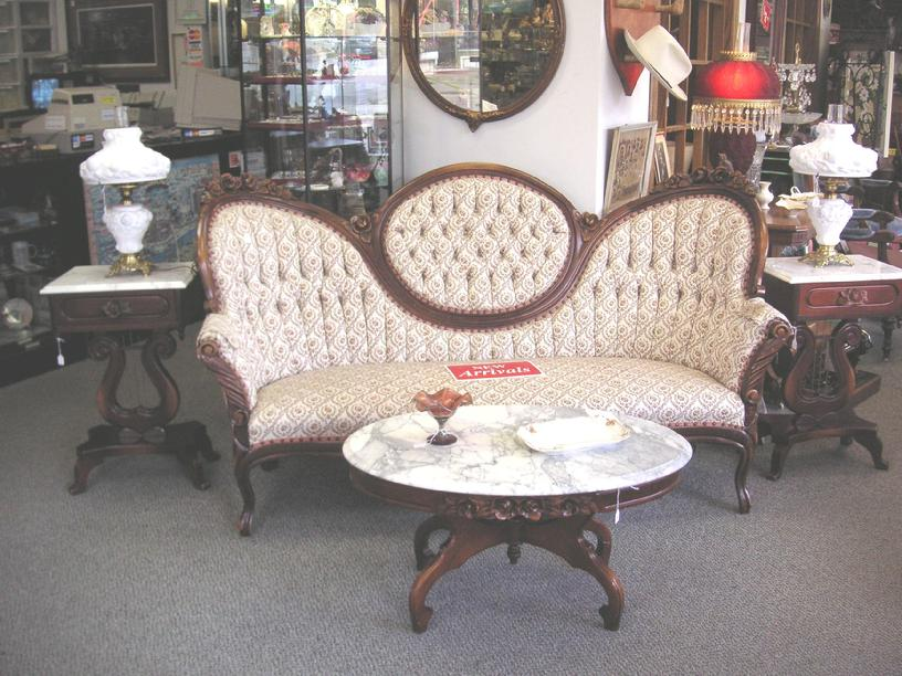 Victorian Sofa U0026 Chair, Two Marble Top Tables W/Lamps U0026 Marble Top Coffee  Table.